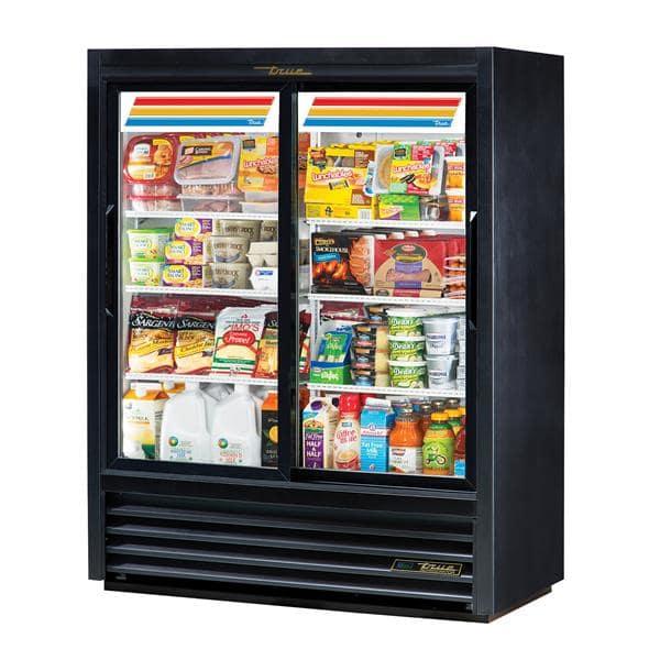 True GDM-41SL-60-HC-LD 47.13'' Black 2 Section Sliding Refrigerated Glass Door Merchandiser