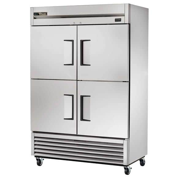 True TS-49F-4-HC 54.13'' 49.0 cu. ft. Bottom Mounted 2 Section Solid Half Door Stainless Steel Reach-In Freezer
