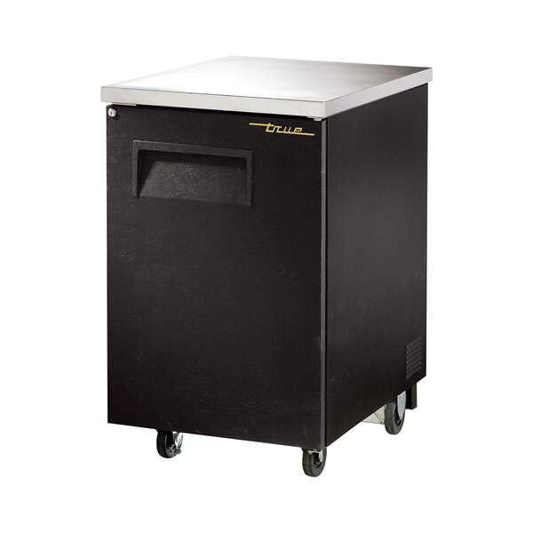 True True TBB-1-HC Black 1 Solid Door Refrigerated Back Bar Storage Cabinet, 115 Volts