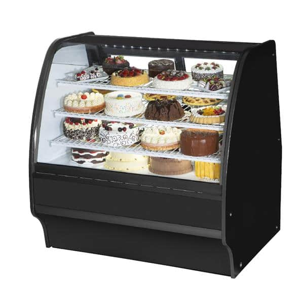 True True TGM-R-48-SC/SC-S-W 48.25'' 13.02 cu. ft. Curved Glass Stainless Steel Refrigerated Bakery Display Case with 6 Shelves