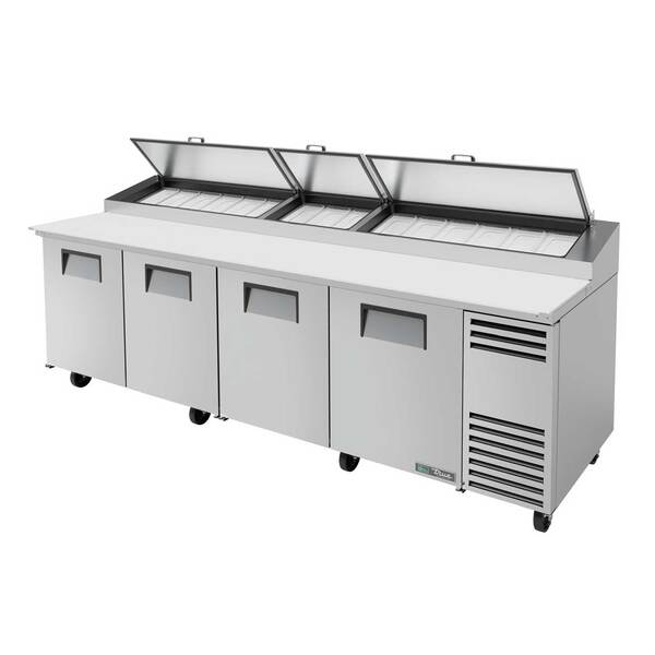 True True TPP-AT-119-HC 119.25'' 4 Door Counter Height Refrigerated Pizza Prep Table