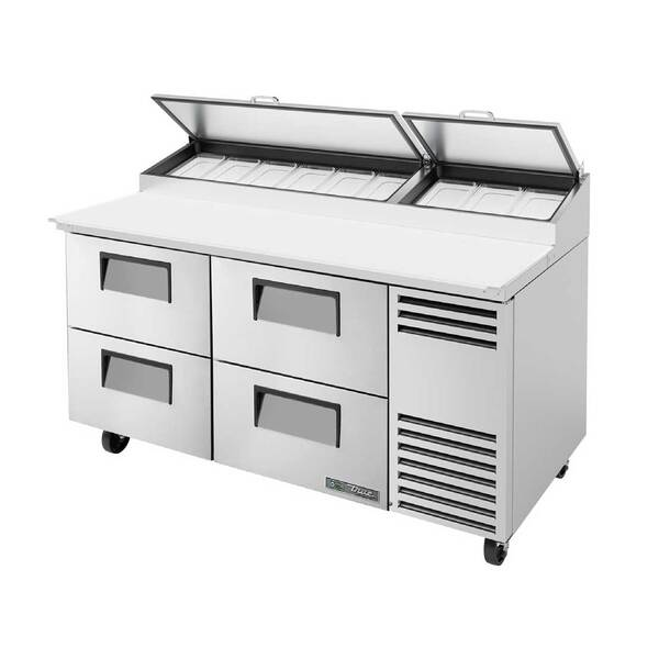 True True TPP-AT-67D-4-HC 67.38'' 4 Drawer Counter Height Refrigerated Pizza Prep Table