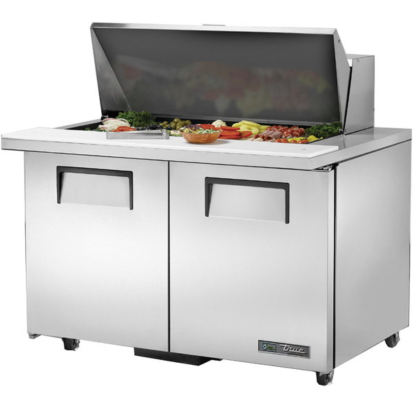 True True TSSU-48-18M-B-ADA-HC 48.38'' 2 Door Counter Height Mega Top Refrigerated Sandwich / Salad Prep Table