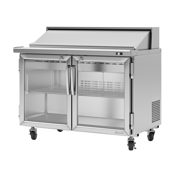 Turbo Air Turbo Air PST-48-G-N 48.25'' 2 Door Counter Height Refrigerated Sandwich / Salad Prep Table with Standard Top