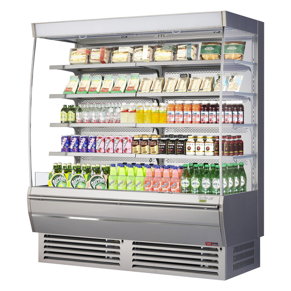 Turbo Air TOM-72DXS-N 68.75'' Stainless Steel Vertical Air Curtain Open Display Merchandiser with 8 Shelves