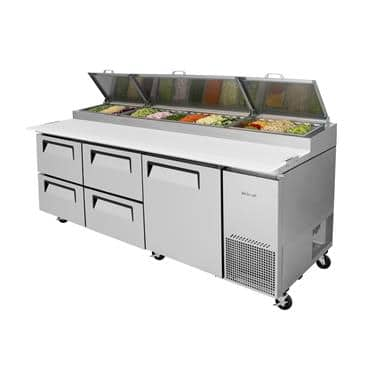 Turbo Air TPR-93SD-D4-N 31 Cu. Ft. Super Deluxe Pizza Prep Table