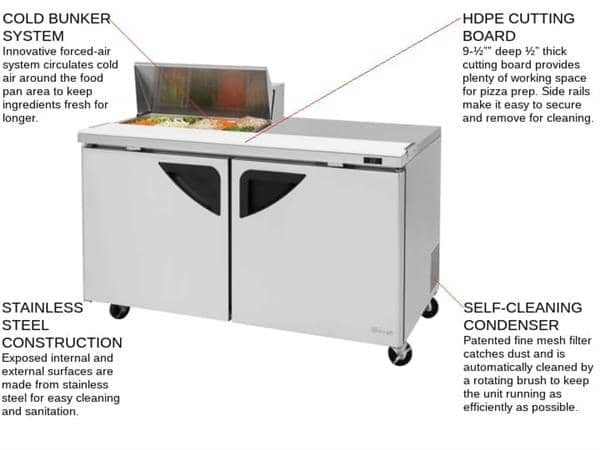 Turbo Air Turbo Air TST-60SD-08S-N 60.38'' 1 Door Counter Height Refrigerated Sandwich / Salad Prep Table with Standard Top