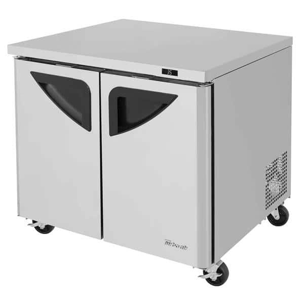 Turbo Air TUR-36SD-N6 36.25'' 2 Section Undercounter Refrigerator with 2 Left/Right Hinged Solid Doors and Side / Rear Breathing Compressor