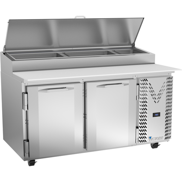 Victory Refrigeration VPP60HC 60.00'' 2 Door Counter Height Refrigerated Pizza Prep Table