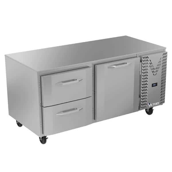 Victory Refrigeration VURD67HC-2 67'' 2 Section Undercounter Refrigerator with 1 Right Hinged Solid Door 2 Drawers and Side / Rear Breathing Compressor