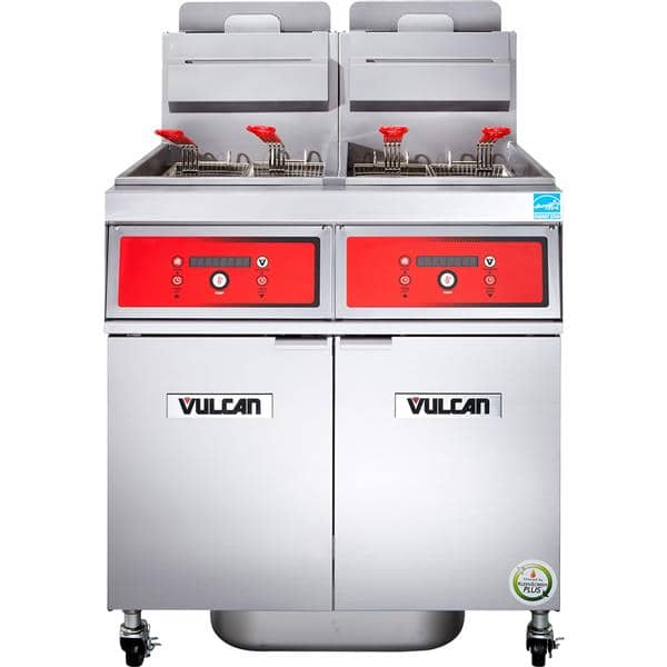 Vulcan 4VK85CF PowerFry5™ (4) 85-90 lb. Fryers Gas Floor Fryer with Computer Controls and KleenScreen PLUS® Filtration System, 120 Volts - 360,000 BTU