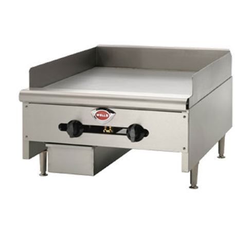 Wells HDG-2430G 24.13'' Stainless Steel Countertop Gas Griddle with Manual Controls - 60,000 BTU