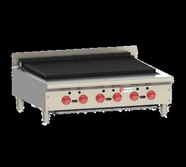 "Wolf ACB36 36"" Gas Countertop Medium Duty Radiant Charbroiler with Infinite Control - 102,000 BTU"
