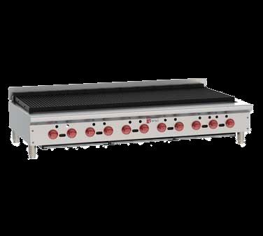 "Wolf ACB60 62.13"" Gas Countertop Medium Duty Radiant Charbroiler with Infinite Control - 187,000 BTU"