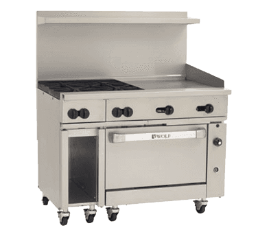 "Wolf C48C-4B24G Restaurant Gas Range, 48"" W with 4 (1) Convection Oven (1) 24"" Manual Griddle and Manual Controls, - 195,000 BTU"