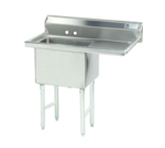 """Advance Tabco FS-1-1818-18R Commercial Sink, (1) One Compartment, 14 Gauge Stainless Steel Construction with Stainless Steel Legs and With Right-hand Drainboard - 38.5"""" W"""