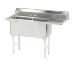 """Advance Tabco FS-2-2424-24R Commercial Sink, (2) Two Compartment, 14 Gauge Stainless Steel Construction with Stainless Steel Legs and With Right-hand Drainboard - 74.5"""" W"""