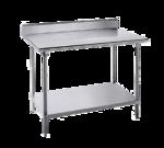 "Advance Tabco KLG-2412 Work Table, 14 Gauge Stainless Steel Top with Undershelf, Galvanized Steel Legs and 5"" Backsplash - 144""W x 24""D x 40.5""H"