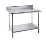 """Advance Tabco KLG-306 Work Table, 14 Gauge Stainless Steel Top with Undershelf, Galvanized Steel Legs and 5""""H Backsplash - 72""""W x 30""""D x 40.5""""H"""