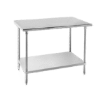 """Advance Tabco SAG-2412 Work Table, 16 Gauge Stainless Steel Top with Undershelf, Stainless Steel Legs and without Backsplash - 144""""W x 24""""D x 35.5""""H"""