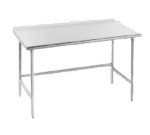 """Advance Tabco TFLG-3012 Work Table, 14 Gauge Stainless Steel Top with Open Base, Galvanized Steel Legs and 1 1/2"""" Backsplash - 144""""W x 30""""D x 37""""H"""