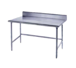 """Advance Tabco TKLG-3611 Work Table, 14 Gauge Stainless Steel Top with Open Base, Galvanized Steel Legs and 5"""" Backsplash - 132""""W x 36""""D x 40.5""""H"""