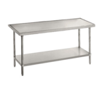 """Advance Tabco VLG-489 Work Table, 14 Gauge Stainless Steel Top with Undershelf, Galvanized Steel Legs and without Backsplash - 108""""W x 48""""D x 35.5""""H"""