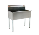 """Eagle Group 2136-2-16/3-1X Commercial Sink, (2) Two Compartment, 16 Gauge Stainless Steel Construction with Galvanized Steel Legs and without Drainboard - 37.38"""" W"""