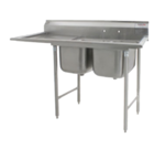"""Eagle Group 414-22-2-18L Commercial Sink, (2) Two Compartment, Stainless Steel Construction with Galvanized Steel Legs and With Left-hand Drainboard - 69"""" W"""