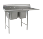 """Eagle Group 414-22-2-18R Commercial Sink, (2) Two Compartment, Stainless Steel Construction with Galvanized Steel Legs and With Right-hand Drainboard - 69"""" W"""