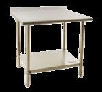"Eagle Group BPT-2460FL Work Table, 18 Gauge Stainless Steel Top with Galvanized Steel Undershelf and 1 1/2"" Backsplash - 60""W x 24""D"