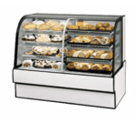 Federal Industries CGR7748DZ Curved Glass Vertical Dual Zone Bakery Case Refrigerated Left Non-Refrigerated Right
