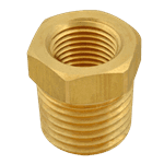 "FMP 117-1028 Brass Reducing Bushing - Hex 3/8"" x 1/4"" NPT"