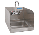 "FMP 117-1387 Hand Sink with Faucet and Spash Guards 10-3/8"" H x 12"" W outside dimensions"