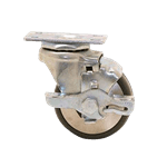 """FMP 120-1012 Standard-Duty 3"""" Plate Caster with Brake Polyurethane wheel with plastic hub"""