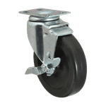 "FMP 120-1053 Standard-Duty 4"" Plate Caster with Brake Polyolefin hub and wheel"