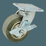 "FMP 120-1085 Heavy-Duty 5"" Plate Caster with Brake Gray polyurethane wheel with plastic hub"