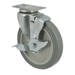 """FMP 120-1098 Standard-Duty 5"""" Plate Caster with Brake Polyurethane wheel with plastic hub"""