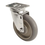 "FMP 120-1101 Medium-Duty 5"" Plate Caster Gray rubber wheel with plastic hub"