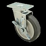 "FMP 120-1104 Medium-Duty 5"" Plate Caster with Brake Polyurethane wheel with plastic hub"