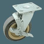 "FMP 120-1151 Heavy-Duty 6"" Plate Caster with Brake Gray polyurethane wheel with plastic hub"