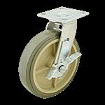 "FMP 120-1156 Heavy-Duty 8"" Plate Caster with Brake Gray polyurethane wheel with plastic hub"