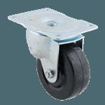 "FMP 120-1174 Swivel Dolly 4"" Plate Caster Hard black rubber wheel"