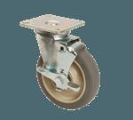 "FMP 120-1186 Medium-Duty 5"" Plate Caster with Brake Gray polyurethane wheel with plastic hub"