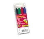 FMP 139-1046 Sharpie Permanent Marker Fine point 4 color set: black  blue  red  and green