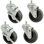 "FMP 148-1175 Medium-Duty 4"" Stem Caster Kit Includes 2 casters with brake  2 casters without brake"