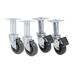 """FMP 175-1134 4"""" Swivel Plate Casters 4 pack: 2 with brake & 2 without brake"""