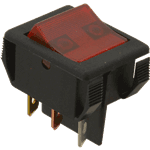 FMP 253-1469 Lighted Rocker Switch DPST  On/Off  5-tab terminals