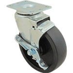 FMP 256-1475 Swivel Plate Caster with Brake Black polyolefin wheel and hub