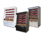 Howard-McCray SC-OM35E-3S-B-LED 39.00'' Black Vertical Air Curtain Open Display Merchandiser with 4 Shelves